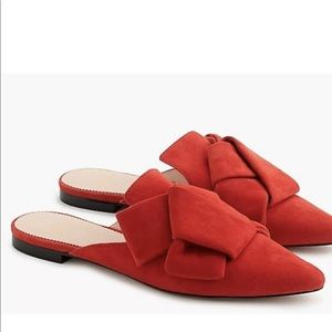 J.Crew holiday red suede pointed toe knit slides